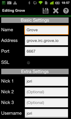AndChat (Android) - Help - Grove